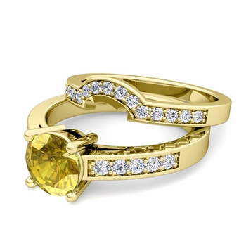 Pave Diamond and Solitaire Yellow Sapphire Engagement Ring Bridal Set in 18k Gold, 6mm