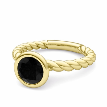Bezel Set Solitaire Black Diamond Ring in 18k Gold Twisted Rope Band, 7mm