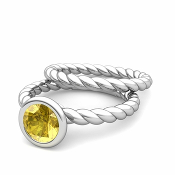 Bezel Set Yellow Sapphire Ring and Rope Wedding Band Bridal Set in 14k Gold, 7mm