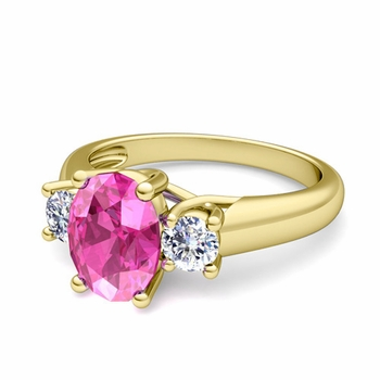 Classic Diamond and Pink Sapphire Three Stone Ring in 18k Gold, 7x5mm