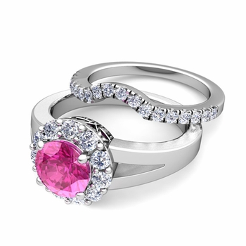 Radiant Diamond and Pink Sapphire Halo Engagement Ring Bridal Set in Platinum, 7mm