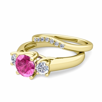 Trellis Diamond and Pink Sapphire Three Stone Ring Bridal Set in 18k Gold, 7mm