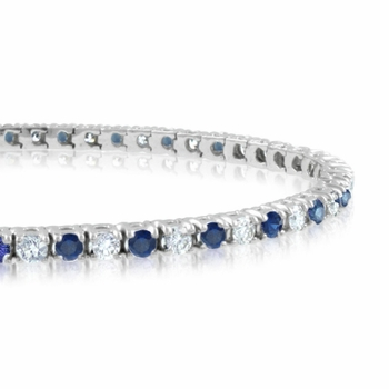 Sapphire and Diamond Bracelet in 14k White Gold G, SI1, 4.25 cttw 7 inches