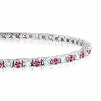Pink Sapphire and Diamond Bracelet in 14k White Gold G, SI1, 4.25 cttw 7 inches