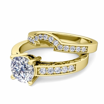 Pave Diamond and Solitaire Engagement Ring Bridal Set in 18k Gold