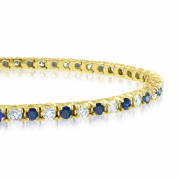 Sapphire and Diamond Bracelet in 18k White GoldG, SI1, 4.25 cttw 7 inches