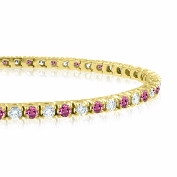 Pink Sapphire and Diamond Bracelet in 18k White Gold G, SI1, 4.25 cttw 7 inches