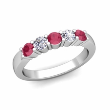 5 Stone Diamond and Ruby Wedding Ring in Platinum