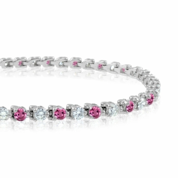 Diamond and Pink Sapphire Bracelet in 14k White Gold G, SI1, 4.25 cttw 7 inches