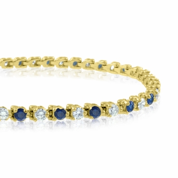 Diamond and Sapphire Bracelet in 18k White Gold G, SI1, 4.25 cttw 7 inches
