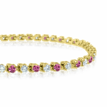 Diamond and Pink Sapphire Bracelet in 18k White Gold G, SI1, 4.25 cttw 7 inches