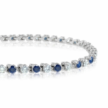 Diamond and Sapphire Bracelet in Platinum Bracelet G, SI1, 4.25 cttw 7 inches