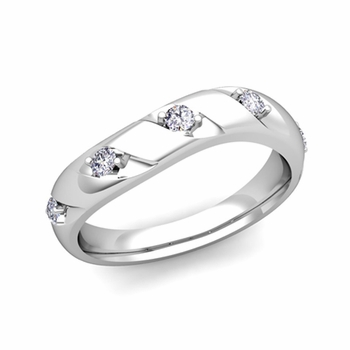 Curved Diamond Wedding Ring Band in Platinum, 3.5mm