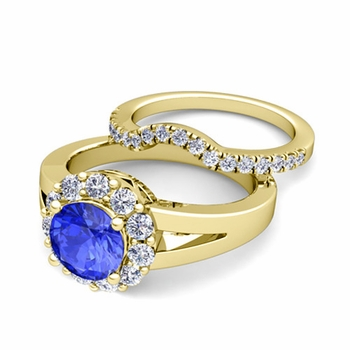 Radiant Diamond and Ceylon Sapphire Halo Engagement Ring Bridal Set in 18k Gold, 7mm