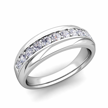 Brilliant Diamond Wedding Ring Band in Platinum, 6mm