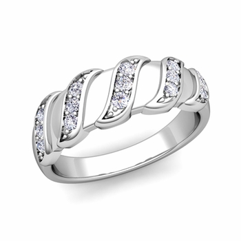 Twisted Diamond Wedding Ring Band in Platinum, 5mm