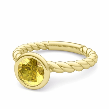 Bezel Set Solitaire Yellow Sapphire Ring in 18k Gold Twisted Rope Band, 7mm