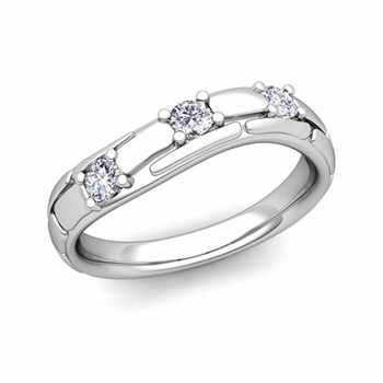Organica 3 Stone Diamond Wedding Ring in 14k Gold, 3mm