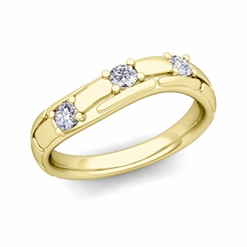 Organica 3 Stone Diamond Wedding Ring in 18k Gold, 3mm