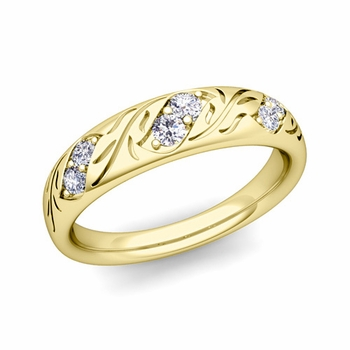 Vintage Inspired Diamond Wedding Band in 18k Gold 3.8mm