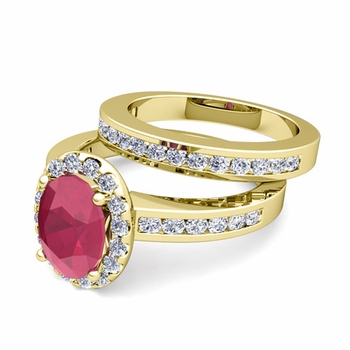Halo Bridal Set: Diamond and Ruby Engagement Wedding Ring in 18k Gold, 7x5mm