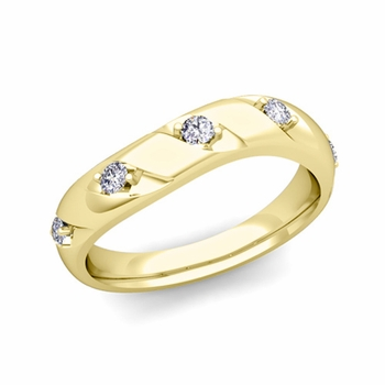 Curved Diamond Wedding Ring Band in 18k Gold, 3.5mm