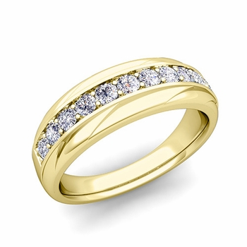 Brilliant Diamond Wedding Ring Band in 18k Gold, 6mm