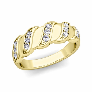 Twisted Diamond Wedding Ring Band in 18k Gold, 5mm