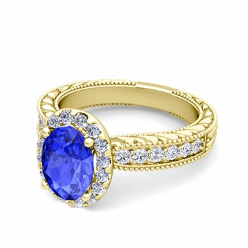 Vintage Inspired Diamond and Ceylon Sapphire Engagement Ring in 18k Gold, 7x5mm