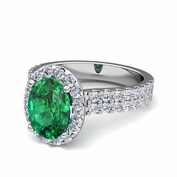 Two Row Diamond and Emerald Engagement Ring in Platinum, 9x7mm