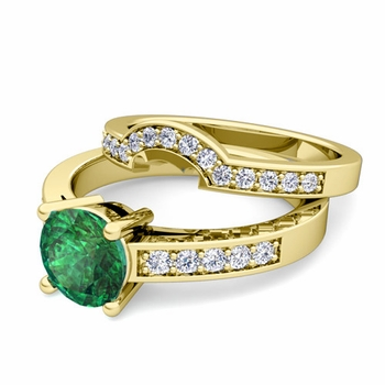 Pave Diamond and Solitaire Emerald Engagement Ring Bridal Set in 18k Gold, 6mm