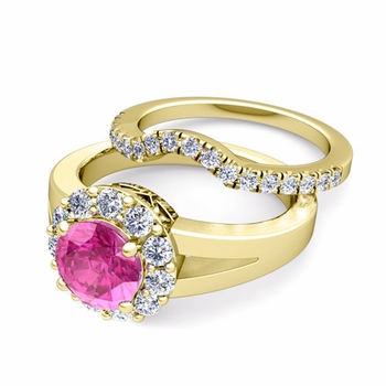 Radiant Diamond and Pink Sapphire Halo Engagement Ring Bridal Set in 18k Gold, 7mm