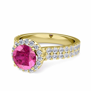Two Row Diamond and Pink Sapphire Engagement Ring in 18k Gold, 6mm