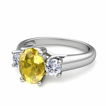 Classic Diamond and Yellow Sapphire Three Stone Ring in 14k Gold, 9x7mm
