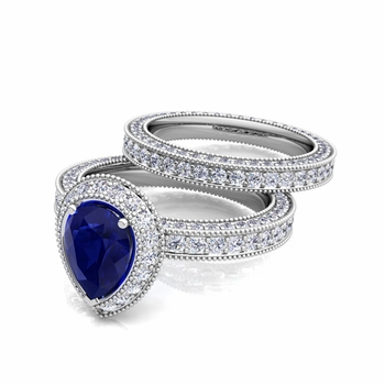 Milgrain Pear Shaped Sapphire Engagement Ring Bridal Set in 14k Gold, 8x6mm