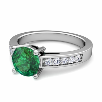Pave Diamond and Solitaire Emerald Engagement Ring in Platinum, 6mm