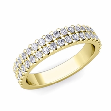 Two Row Diamond Wedding Ring Band in 18k Gold