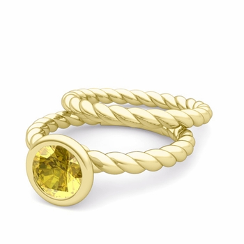 Bezel Set Yellow Sapphire Ring and Rope Wedding Band Bridal Set in 18k Gold, 6mm
