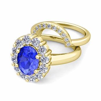 Diana Diamond and Ceylon Sapphire Engagement Ring Bridal Set in 18k Gold, 7x5mm