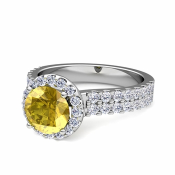 Two Row Diamond and Yellow Sapphire Engagement Ring in Platinum, 6mm
