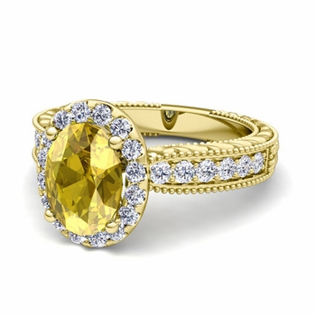 Vintage Inspired Diamond and Yellow Sapphire Engagement Ring in 18k Gold, 9x7mm