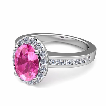 Diamond and Pink Sapphire Halo Engagement Ring in Platinum Channel Set Ring, 7x5mm