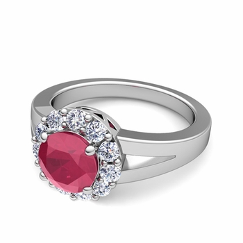 Radiant Diamond and Ruby Halo Engagement Ring in Platinum, 6mm