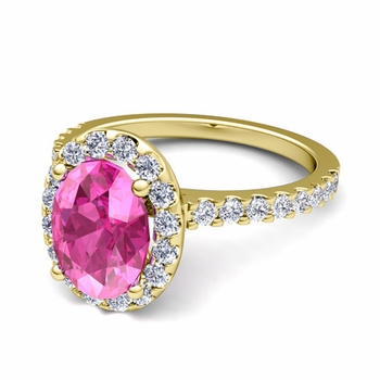 Petite Pave Set Diamond and Pink Sapphire Halo Engagement Ring in 18k Gold, 7x5mm