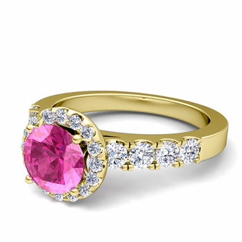 Brilliant Pave Set Diamond and Pink Sapphire Halo Engagement Ring in 18k Gold, 5mm