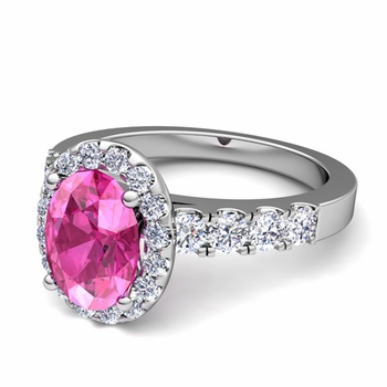 Brilliant Pave Set Diamond and Pink Sapphire Halo Engagement Ring in Platinum, 7x5mm