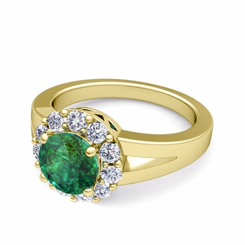 Radiant Diamond and Emerald Halo Engagement Ring in 18k Gold, 7mm