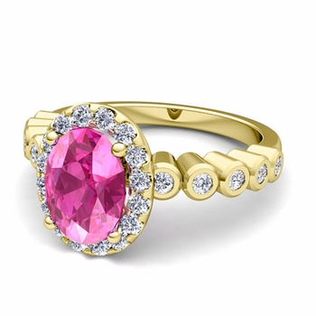 Bezel Set Diamond and Pink Sapphire Halo Engagement Ring in 18k Gold, 7x5mm
