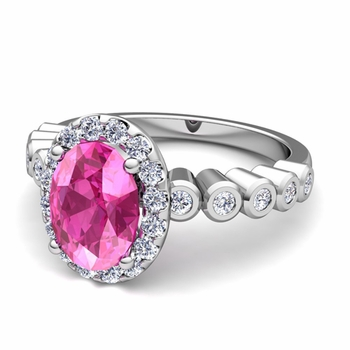 Bezel Set Diamond and Pink Sapphire Halo Engagement Ring in Platinum, 7x5mm