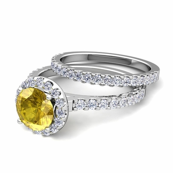 Bridal Set: Pave Diamond and Yellow Sapphire Engagement Wedding Ring in 14k Gold, 7mm